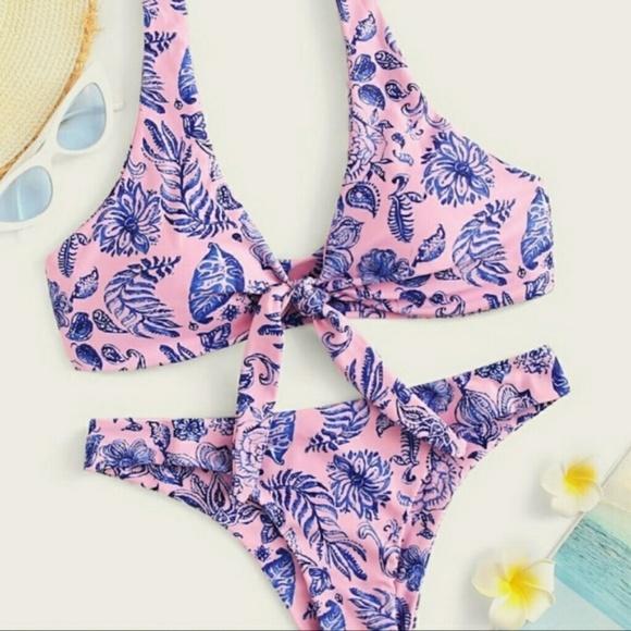 Affordable Fashion Finds Other - Blue & Pink Floral Print Front Tie Bikini Set MD